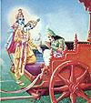 At last Krsna showed Arjuna His two-armed form.